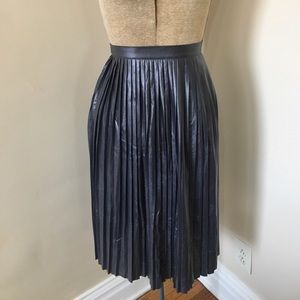 J Crew Navy Shimmer Pleated Faux Leather Skirt 2